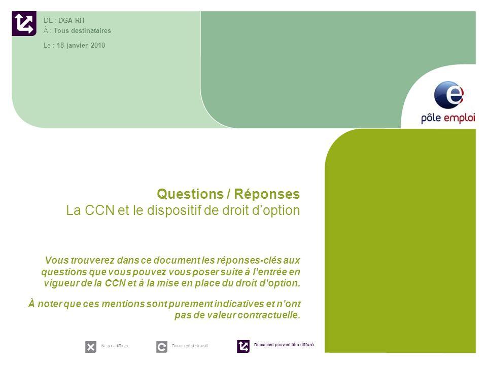 Questions / Réponses La CCN et le dispositif de droit doption Vous trouverez dans ce document les réponses-clés aux questions que vous pouvez vous pos