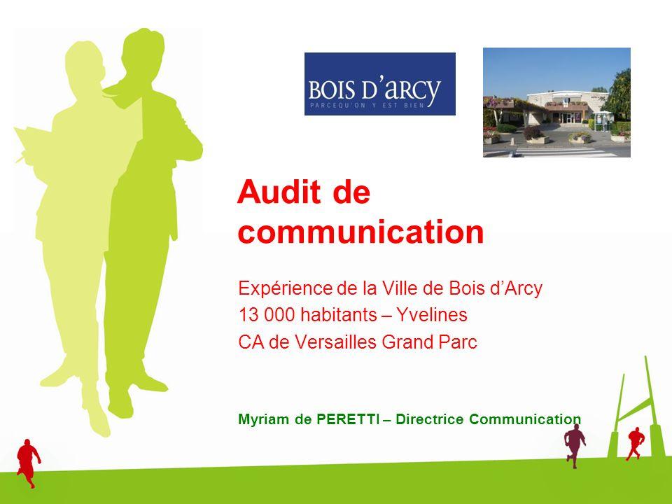 Audit de communication Expérience de la Ville de Bois dArcy 13 000 habitants – Yvelines CA de Versailles Grand Parc Myriam de PERETTI – Directrice Com