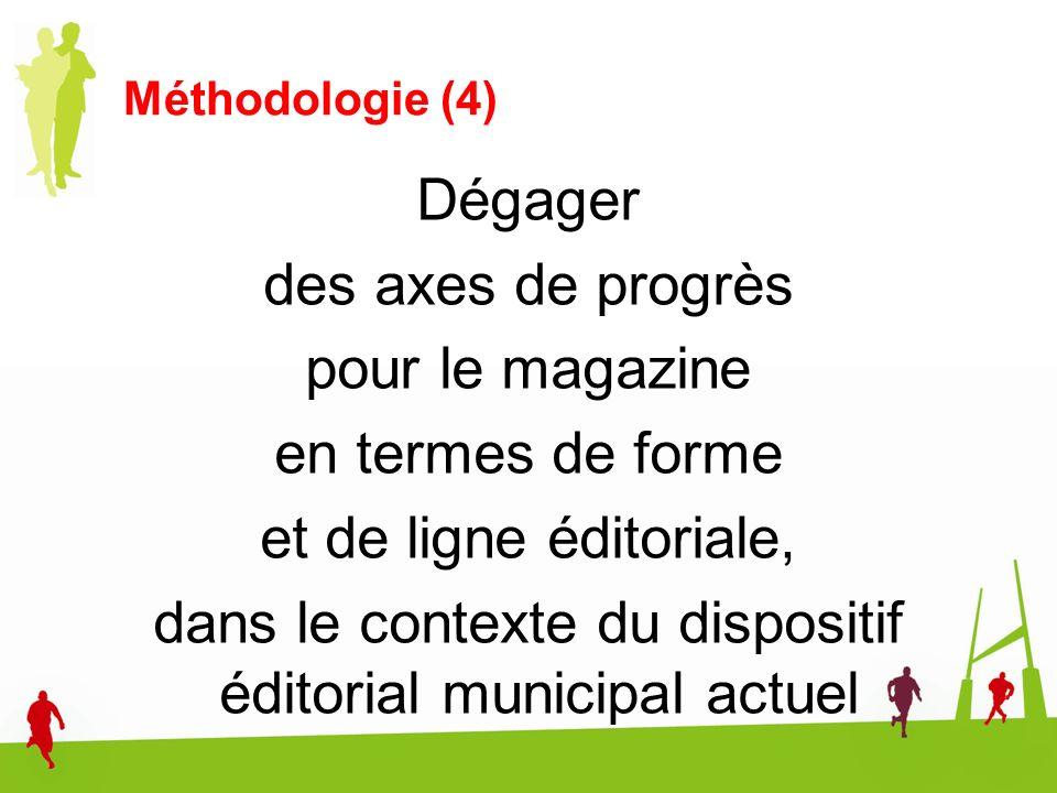 Méthodologie (4) Dégager des axes de progrès pour le magazine en termes de forme et de ligne éditoriale, dans le contexte du dispositif éditorial muni
