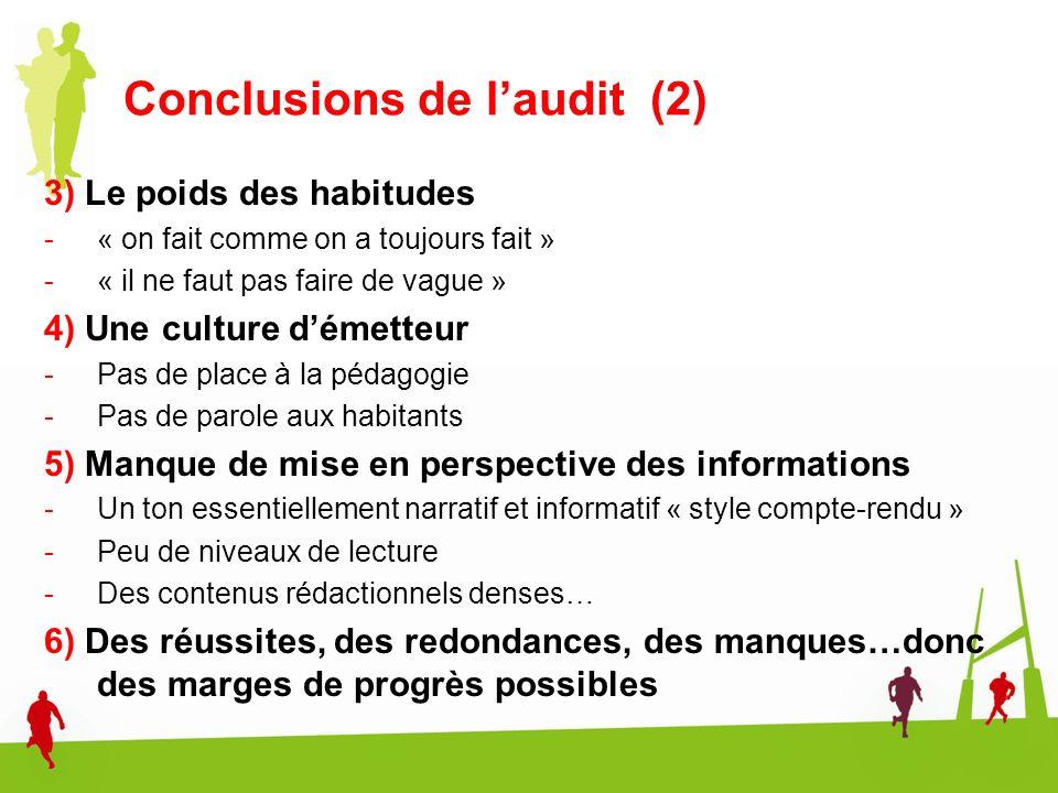 Conclusions de laudit (2) 3) Le poids des habitudes -« on fait comme on a toujours fait » -« il ne faut pas faire de vague » 4) Une culture démetteur