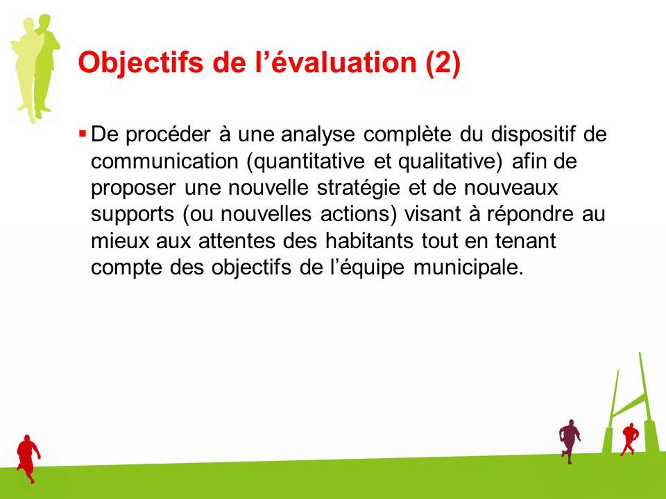 Objectifs de lévaluation (2) De procéder à une analyse complète du dispositif de communication (quantitative et qualitative) afin de proposer une nouv