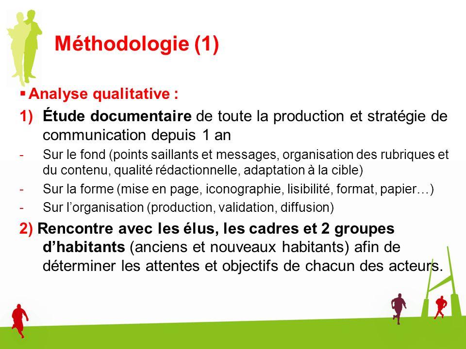 Méthodologie (1) Analyse qualitative : 1)Étude documentaire de toute la production et stratégie de communication depuis 1 an -Sur le fond (points sail