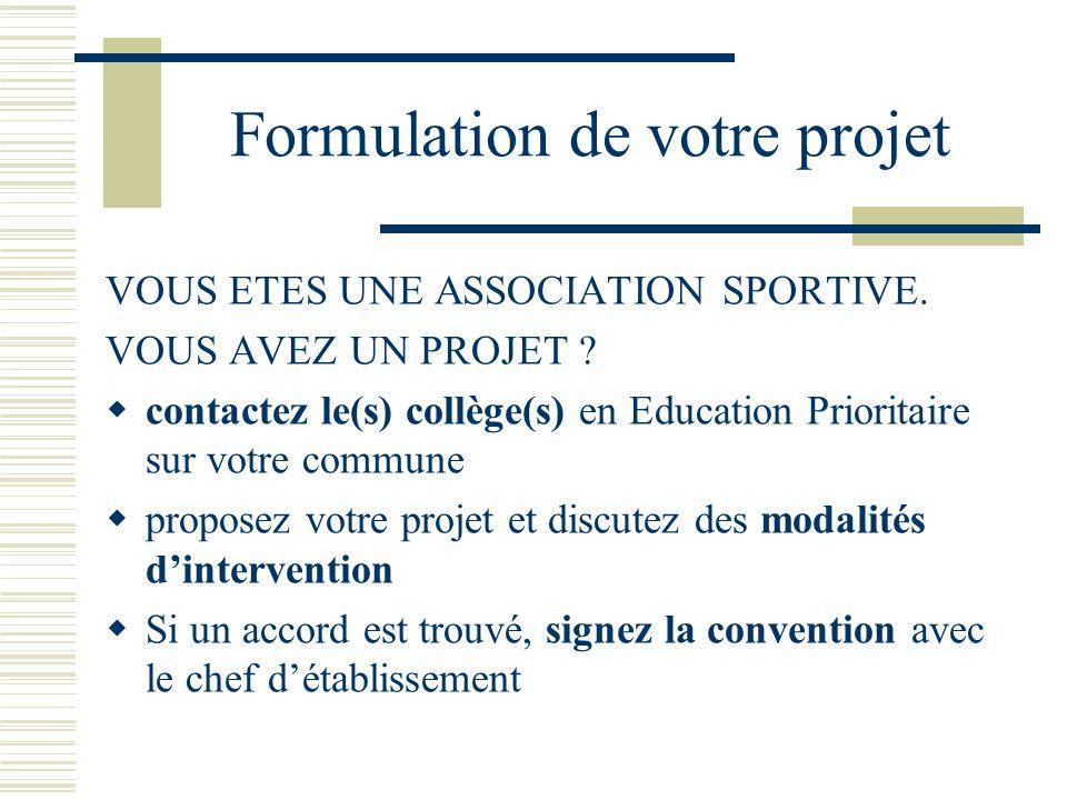 Formulation de votre projet VOUS ETES UNE ASSOCIATION SPORTIVE. VOUS AVEZ UN PROJET ? contactez le(s) collège(s) en Education Prioritaire sur votre co
