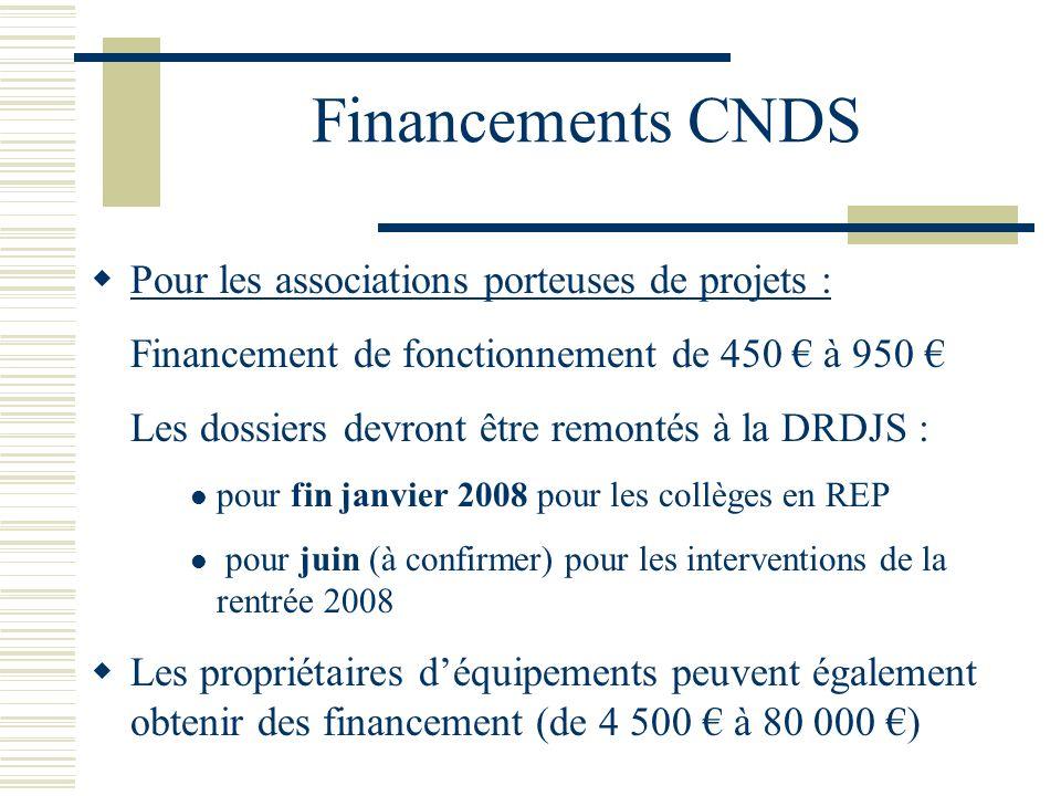 Financements CNDS Pour les associations porteuses de projets : Financement de fonctionnement de 450 à 950 Les dossiers devront être remontés à la DRDJ