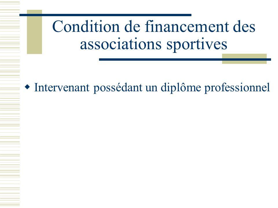 Condition de financement des associations sportives Intervenant possédant un diplôme professionnel