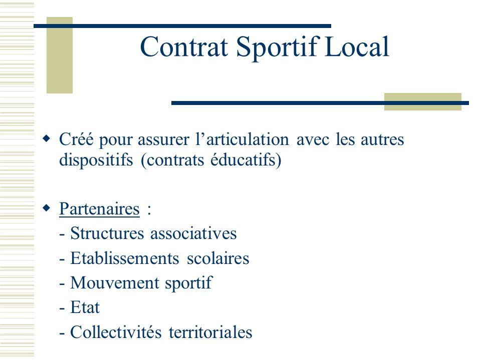 Contrat Sportif Local Créé pour assurer larticulation avec les autres dispositifs (contrats éducatifs) Partenaires : - Structures associatives - Etabl