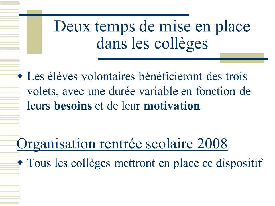 Deux temps de mise en place dans les collèges Les élèves volontaires bénéficieront des trois volets, avec une durée variable en fonction de leurs beso