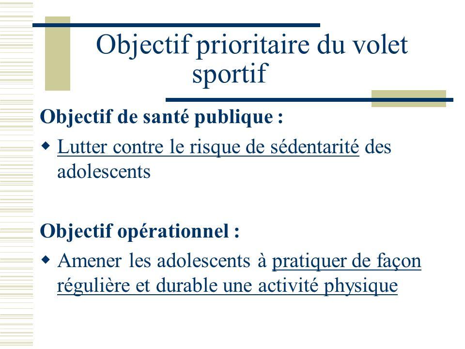 Objectif prioritaire du volet sportif Objectif de santé publique : Lutter contre le risque de sédentarité des adolescents Objectif opérationnel : Amen
