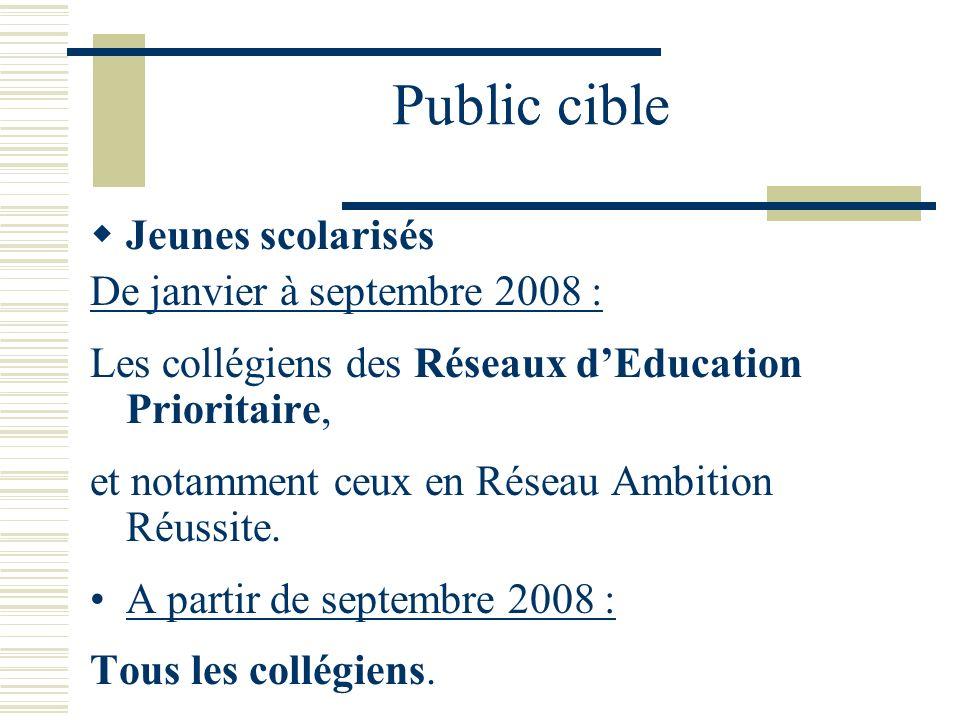 Public cible Jeunes scolarisés De janvier à septembre 2008 : Les collégiens des Réseaux dEducation Prioritaire, et notamment ceux en Réseau Ambition R