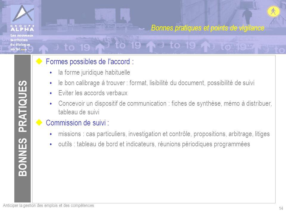 Anticiper la gestion des emplois et des compétences 14 Bonnes pratiques et points de vigilance uFormes possibles de l'accord : la forme juridique habi