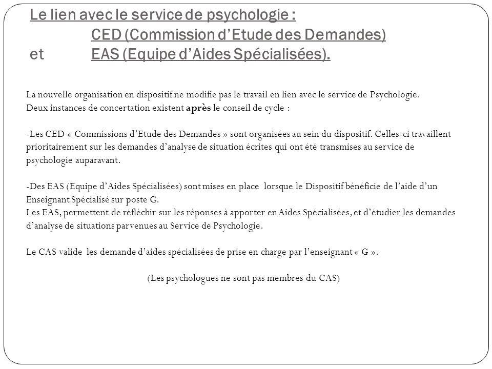Le lien avec le service de psychologie : CED (Commission dEtude des Demandes) et EAS (Equipe dAides Spécialisées).