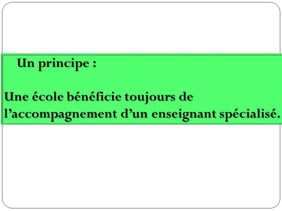 Un principe : Un principe : Une école bénéficie toujours de laccompagnement dun enseignant spécialisé.