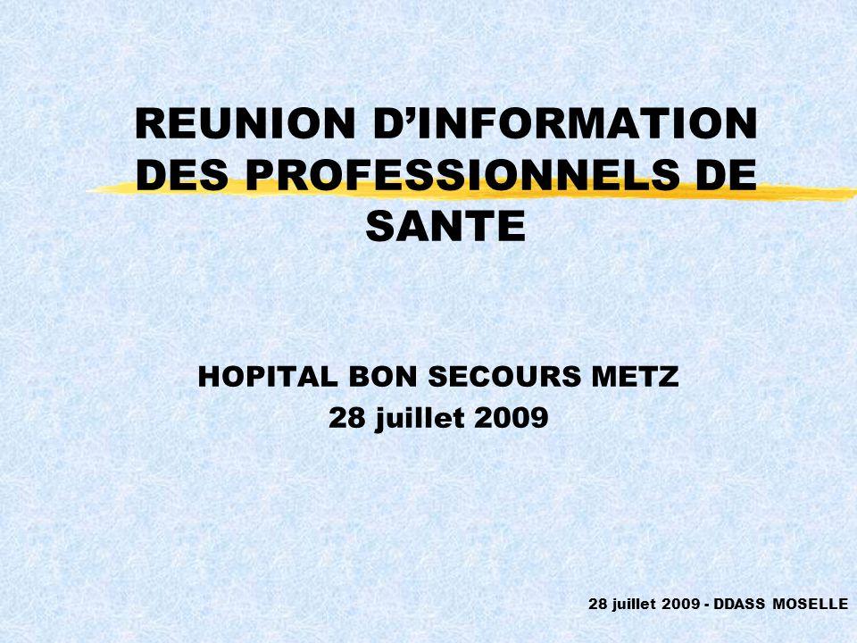 REUNION DINFORMATION DES PROFESSIONNELS DE SANTE HOPITAL BON SECOURS METZ 28 juillet 2009 28 juillet 2009 - DDASS MOSELLE