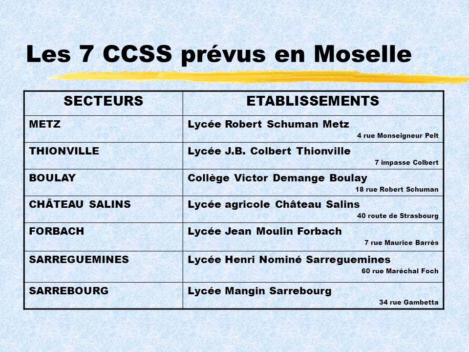Les 7 CCSS prévus en Moselle SECTEURSETABLISSEMENTS METZLycée Robert Schuman Metz 4 rue Monseigneur Pelt THIONVILLELycée J.B.