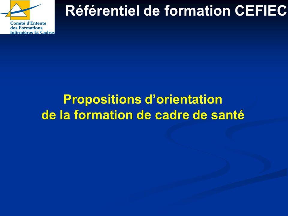 Référentiel de formation CEFIEC Propositions dorientation de la formation de cadre de santé