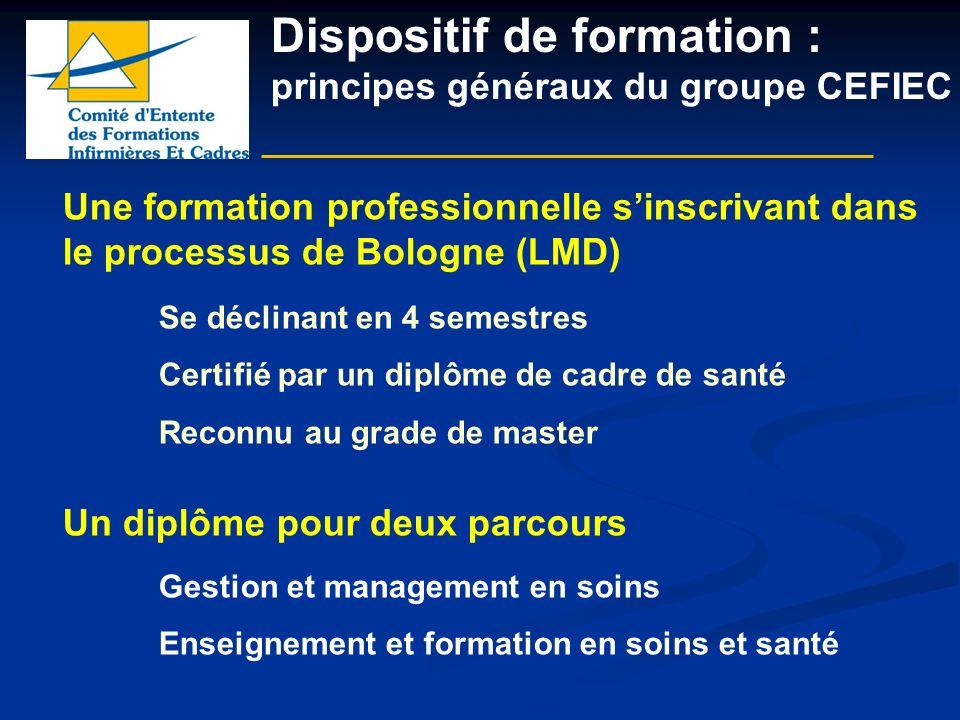 Dispositif de formation : principes généraux du groupe CEFIEC Une formation professionnelle sinscrivant dans le processus de Bologne (LMD) Se déclinan