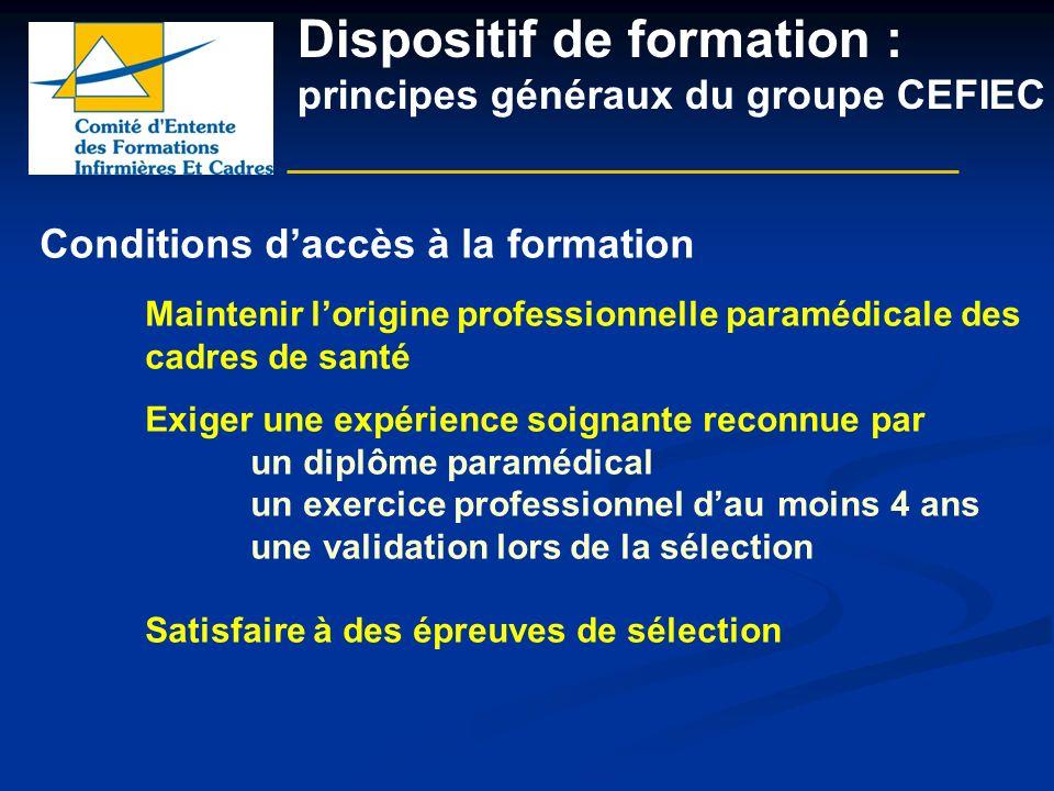 Dispositif de formation : principes généraux du groupe CEFIEC Conditions daccès à la formation Maintenir lorigine professionnelle paramédicale des cad
