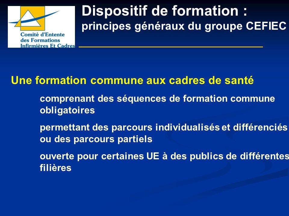 Dispositif de formation : principes généraux du groupe CEFIEC Une formation commune aux cadres de santé comprenant des séquences de formation commune