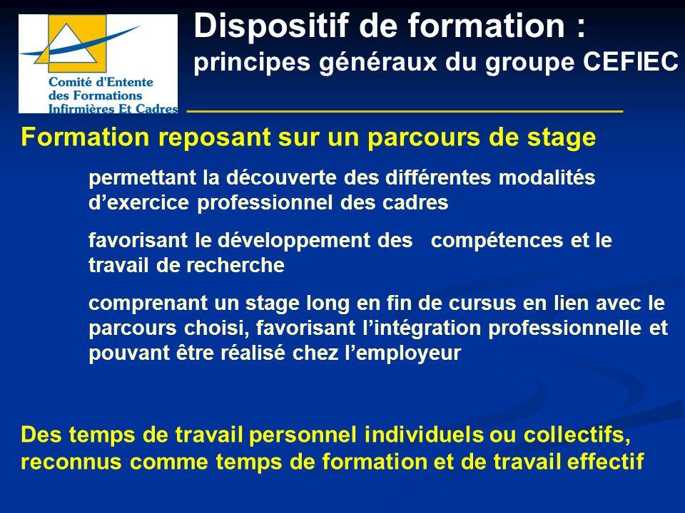 Dispositif de formation : principes généraux du groupe CEFIEC Formation reposant sur un parcours de stage permettant la découverte des différentes mod