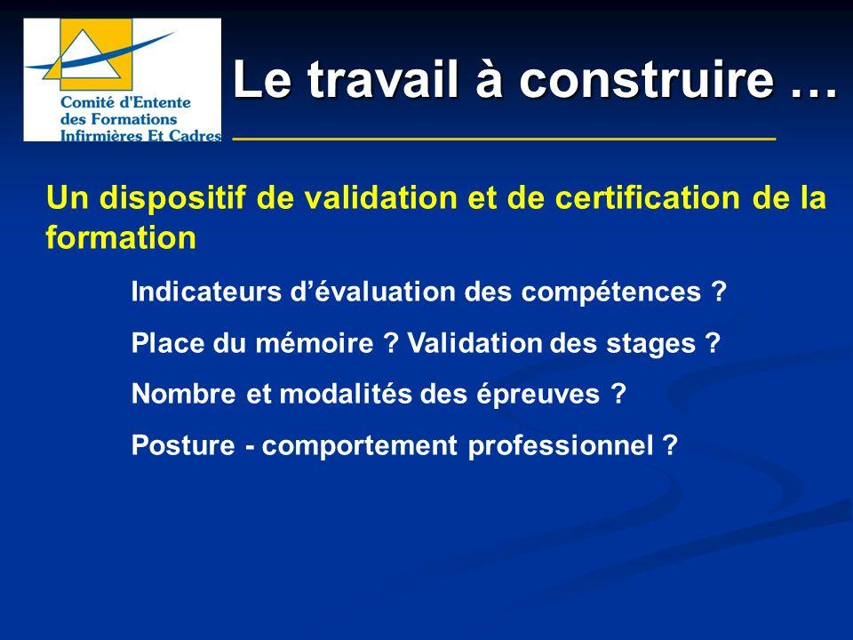 Le travail à construire … Un dispositif de validation et de certification de la formation Indicateurs dévaluation des compétences ? Place du mémoire ?