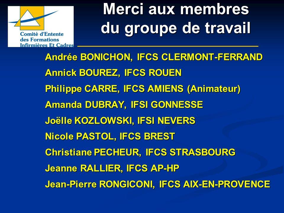 Merci aux membres du groupe de travail Andrée BONICHON, IFCS CLERMONT-FERRAND Annick BOUREZ, IFCS ROUEN Philippe CARRE, IFCS AMIENS (Animateur) Amanda