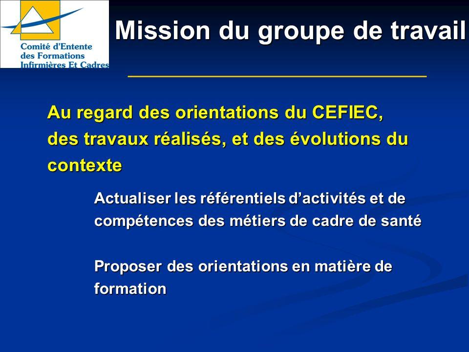 Mission du groupe de travail Au regard des orientations du CEFIEC, des travaux réalisés, et des évolutions du contexte Actualiser les référentiels dac