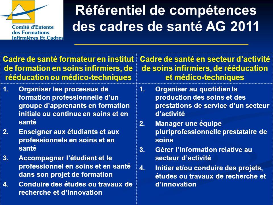 Référentiel de compétences des cadres de santé AG 2011 Cadre de santé formateur en institut de formation en soins infirmiers, de rééducation ou médico