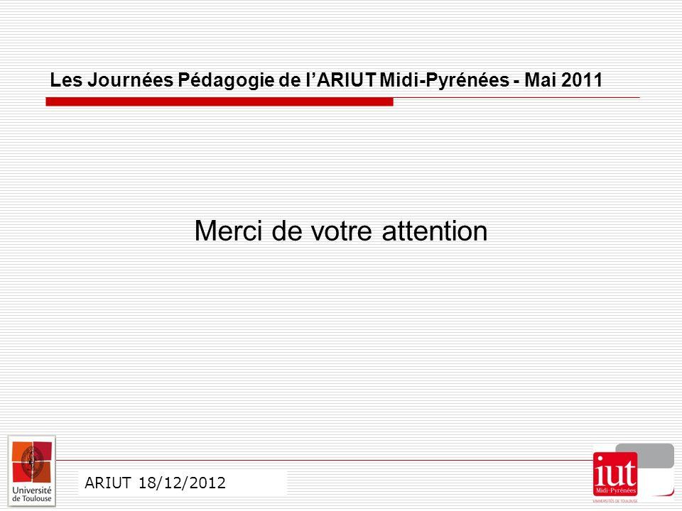 CO ARIUT 29 mai 2012 ARIUT 18/12/2012 Merci de votre attention Les Journées Pédagogie de lARIUT Midi-Pyrénées - Mai 2011