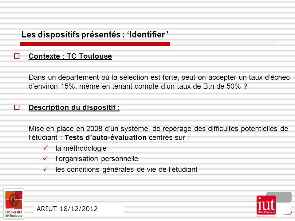 CO ARIUT 29 mai 2012 Les dispositifs présentés : Identifier Contexte : TC Toulouse Dans un département où la sélection est forte, peut-on accepter un taux déchec denviron 15%, même en tenant compte dun taux de Btn de 50% .