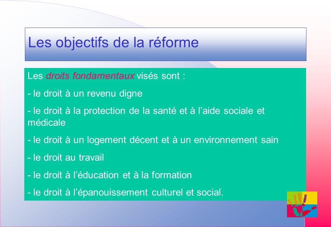 Les objectifs de la réforme Les droits fondamentaux visés sont : - le droit à un revenu digne - le droit à la protection de la santé et à laide sociale et médicale - le droit à un logement décent et à un environnement sain - le droit au travail - le droit à léducation et à la formation - le droit à lépanouissement culturel et social.