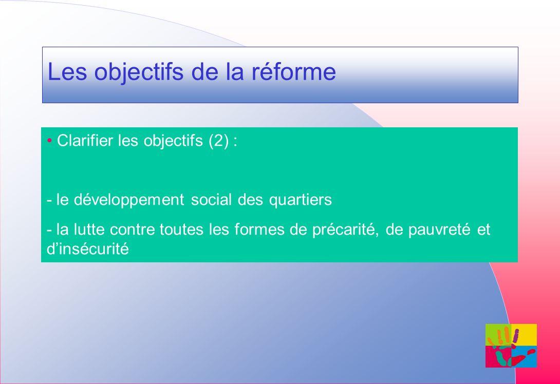 Les objectifs de la réforme Clarifier les objectifs (2) : - le développement social des quartiers - la lutte contre toutes les formes de précarité, de pauvreté et dinsécurité