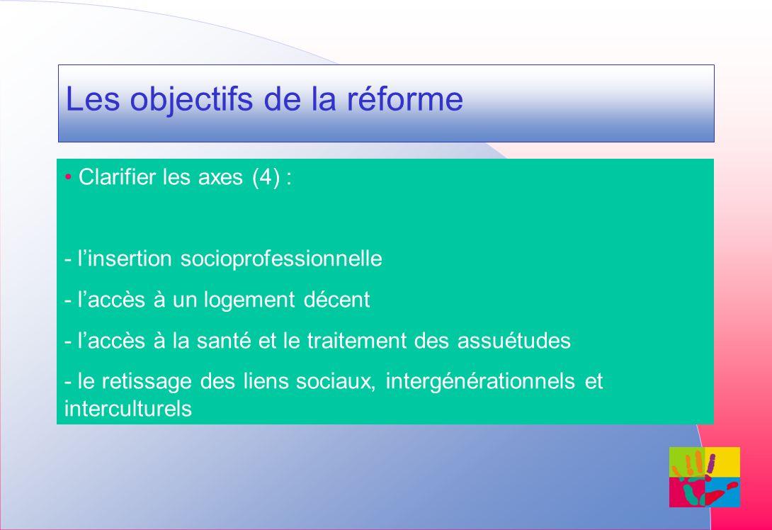 Les objectifs de la réforme Clarifier les axes (4) : - linsertion socioprofessionnelle - laccès à un logement décent - laccès à la santé et le traitement des assuétudes - le retissage des liens sociaux, intergénérationnels et interculturels