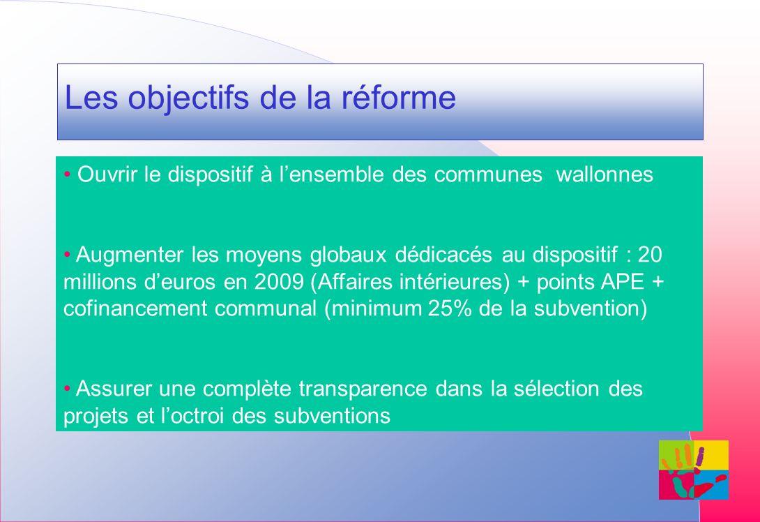 Les objectifs de la réforme Ouvrir le dispositif à lensemble des communes wallonnes Augmenter les moyens globaux dédicacés au dispositif : 20 millions