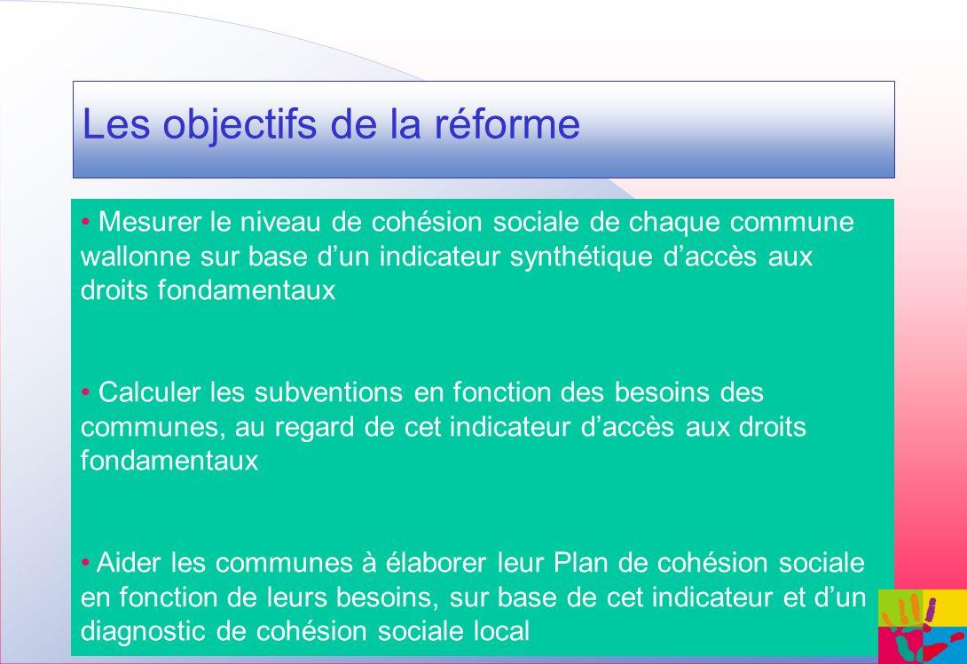 Les objectifs de la réforme Mesurer le niveau de cohésion sociale de chaque commune wallonne sur base dun indicateur synthétique daccès aux droits fon