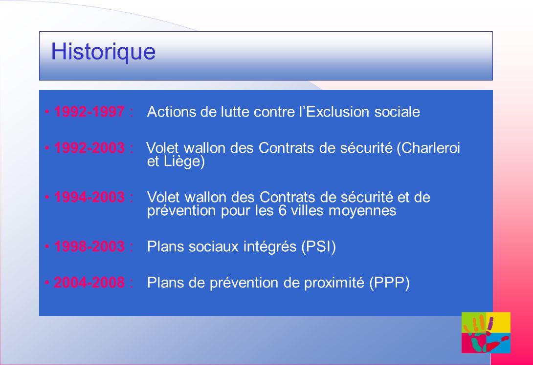 Historique 1992-1997 : Actions de lutte contre lExclusion sociale 1992-2003 : Volet wallon des Contrats de sécurité (Charleroi et Liège) 1994-2003 : V