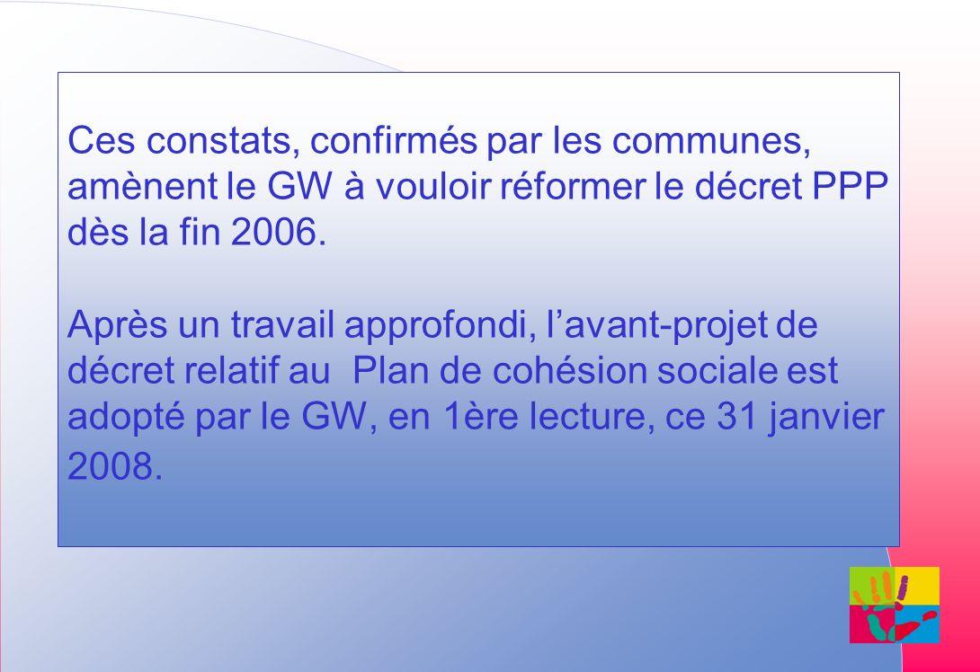 Ces constats, confirmés par les communes, amènent le GW à vouloir réformer le décret PPP dès la fin 2006. Après un travail approfondi, lavant-projet d
