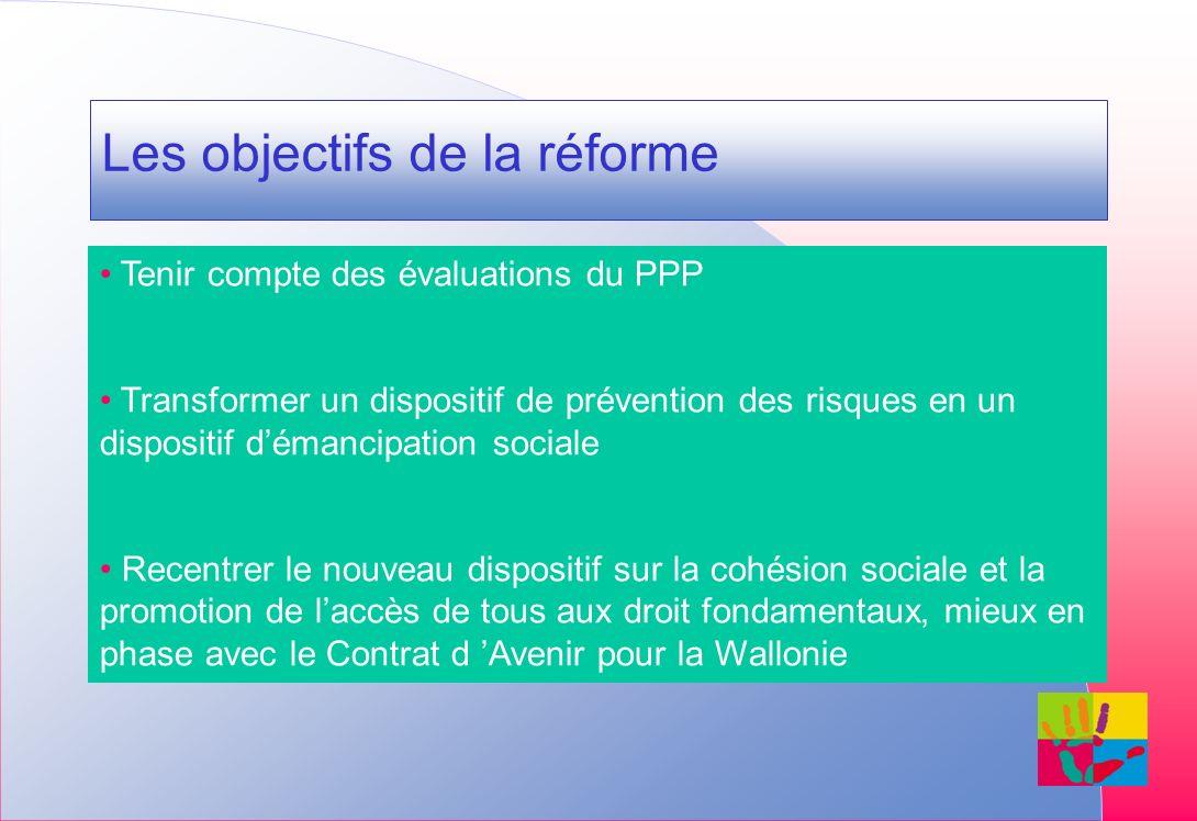 Les objectifs de la réforme Tenir compte des évaluations du PPP Transformer un dispositif de prévention des risques en un dispositif démancipation sociale Recentrer le nouveau dispositif sur la cohésion sociale et la promotion de laccès de tous aux droit fondamentaux, mieux en phase avec le Contrat d Avenir pour la Wallonie