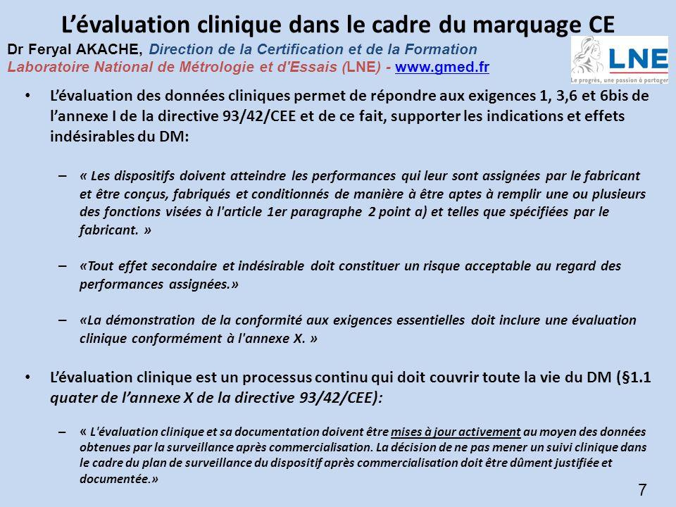Présentation SNITEM – 14-janv.-09 - 7 Copyright © 2009 - SNITEM - Tous droits réservés 7 Lévaluation clinique dans le cadre du marquage CE Lévaluation