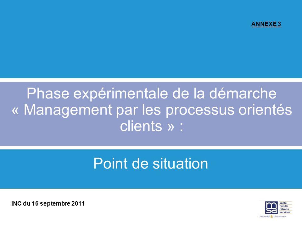 INC du 16 septembre 2011 Phase expérimentale de la démarche « Management par les processus orientés clients » : Point de situation ANNEXE 3