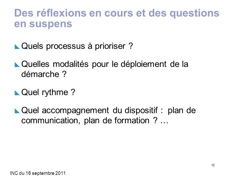 INC du 16 septembre 2011 10 Des réflexions en cours et des questions en suspens Quels processus à prioriser ? Quelles modalités pour le déploiement de