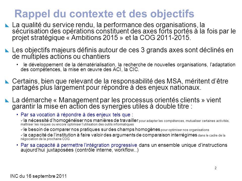 INC du 16 septembre 2011 2 Rappel du contexte et des objectifs La qualité du service rendu, la performance des organisations, la sécurisation des opér