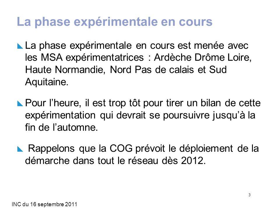INC du 16 septembre 2011 3 La phase expérimentale en cours La phase expérimentale en cours est menée avec les MSA expérimentatrices : Ardèche Drôme Lo