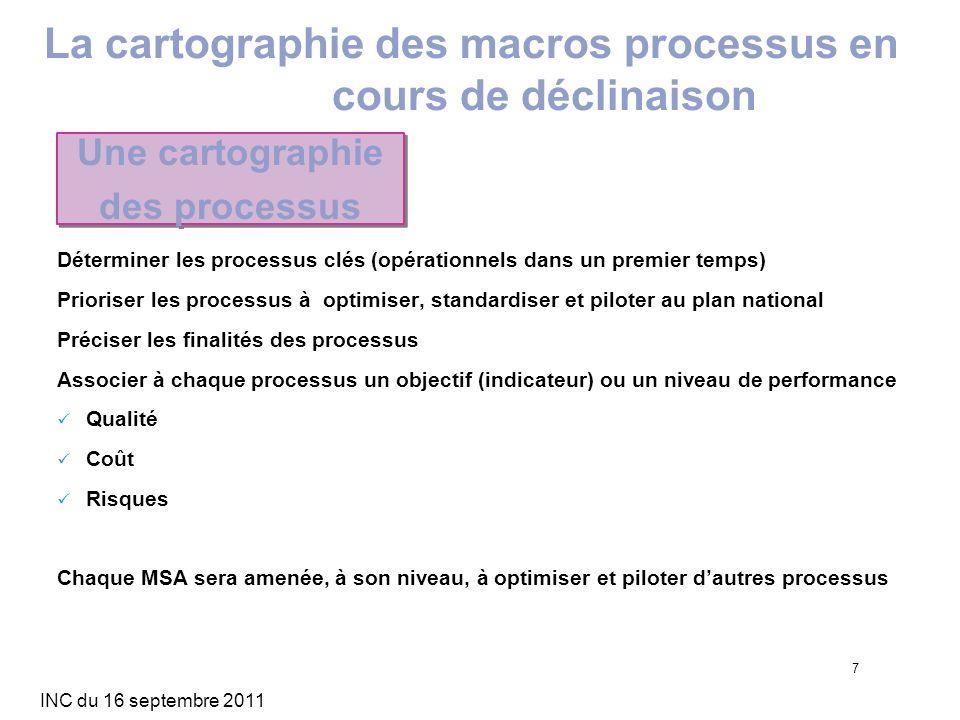 INC du 16 septembre 2011 7 Déterminer les processus clés (opérationnels dans un premier temps) Prioriser les processus à optimiser, standardiser et pi