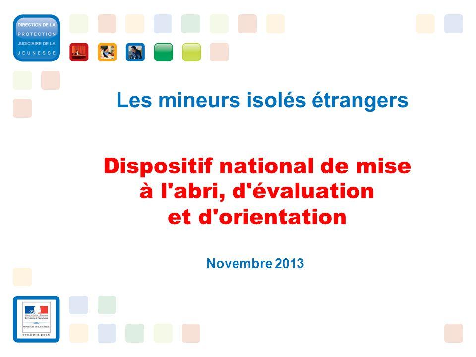 1 Dispositif national de mise à l'abri, d'évaluation et d'orientation Novembre 2013 Les mineurs isolés étrangers