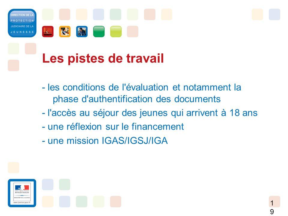 19 Les pistes de travail - les conditions de l'évaluation et notamment la phase d'authentification des documents - l'accès au séjour des jeunes qui ar