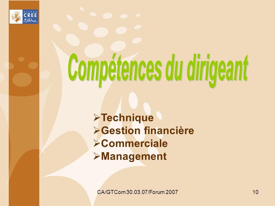 CA/GTCom 30.03.07/Forum 200710 Technique Gestion financière Commerciale Management