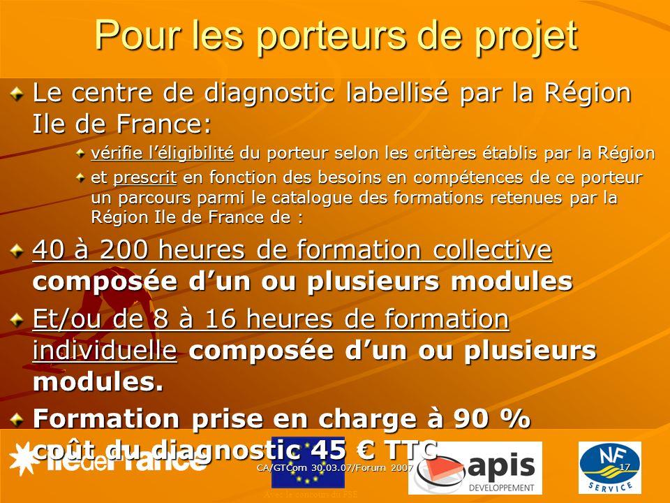 Avec le concours du FSE CA/GTCom 30.03.07/Forum 2007 17 Pour les porteurs de projet Le centre de diagnostic labellisé par la Région Ile de France: vér