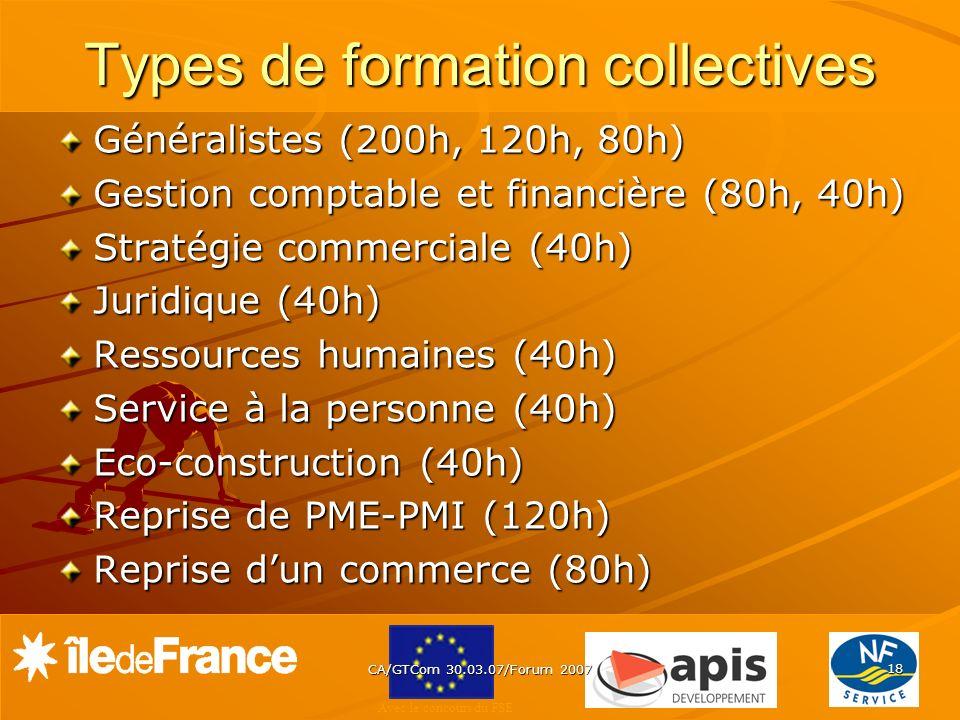 Avec le concours du FSE CA/GTCom 30.03.07/Forum 2007 18 Types de formation collectives Généralistes (200h, 120h, 80h) Gestion comptable et financière