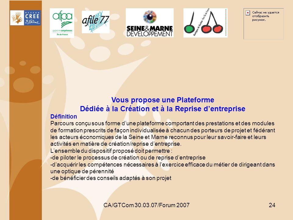 CA/GTCom 30.03.07/Forum 200724 Vous propose une Plateforme Dédiée à la Création et à la Reprise dentreprise Définition Parcours conçu sous forme dune