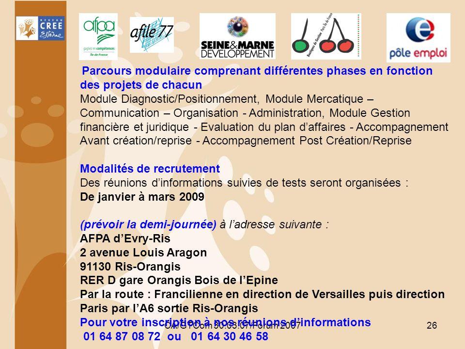 CA/GTCom 30.03.07/Forum 200726 Parcours modulaire comprenant différentes phases en fonction des projets de chacun Module Diagnostic/Positionnement, Mo